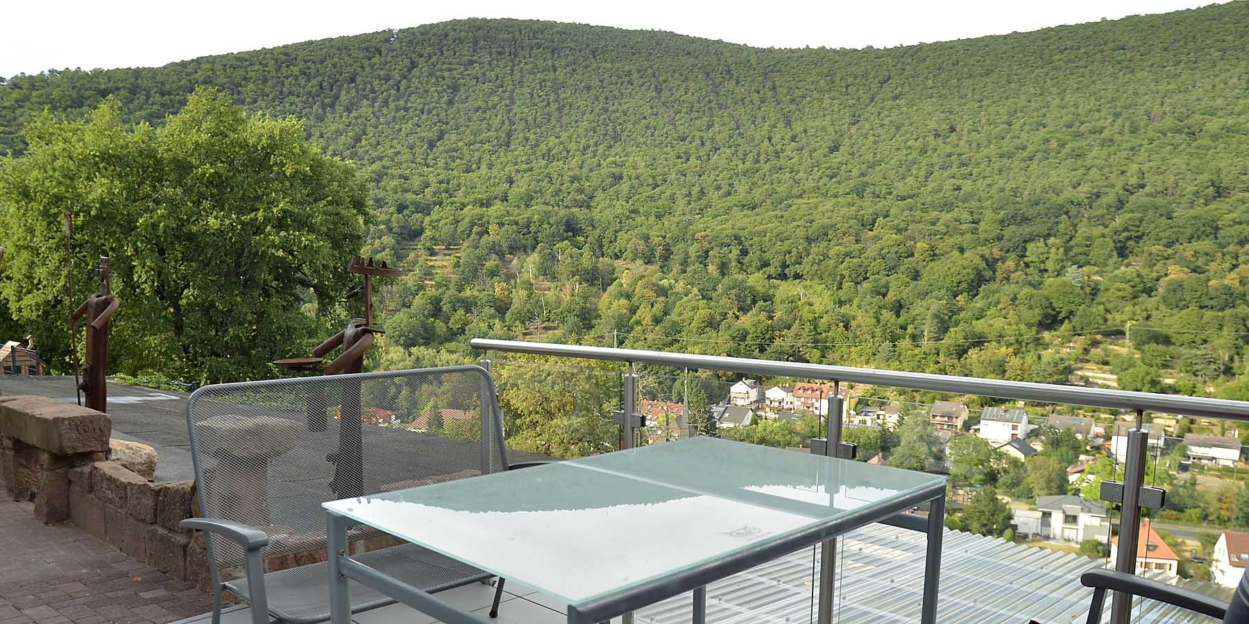 Ferienwohnung Uhuherz, Pfalz - exponierte Lage mit Panoramablick über den Pfälzerwald und Neustadt an der Weinstraße